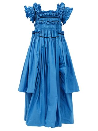 Robby Frilled And Hand-Smocked Taffeta Gown