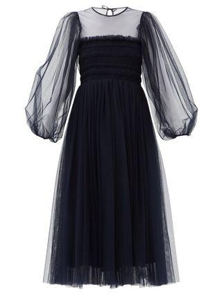 Amelie Shirred-Bodice Tulle Midi Dress