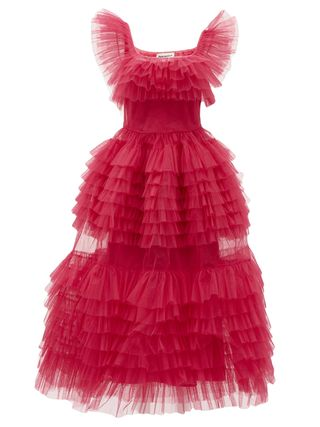 Pascale Frilled Tulle Midi Dress