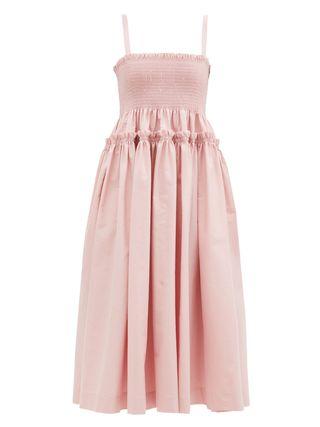 Marlene Shirred Cotton-Scuba Midi Dress