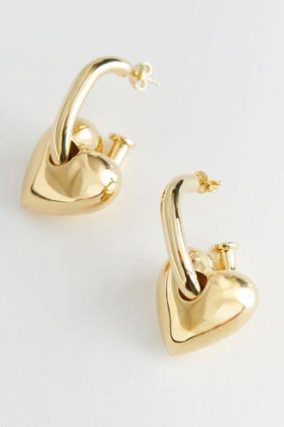 Hanging Heart Pendant Earrings