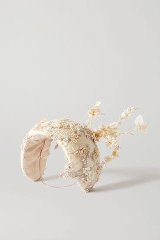 Bonnet en taffetas brodé à ornements Teresa