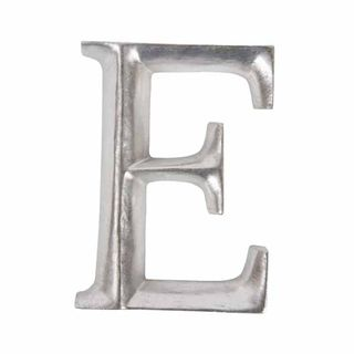 12cm Silver Wooden Letter E