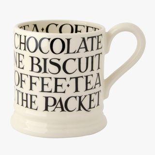 Black Toast All Over Writing 1/2 Pint Mug