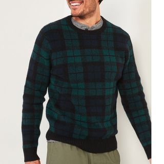 Old Navy Cozy Plaid Crew-Neck Sweater for Men