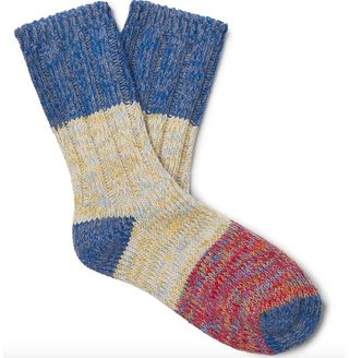 Colour-Block Recycled Cotton-Blend Socks