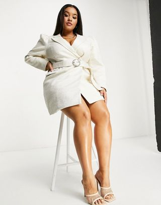 Boucle blazer dress in white