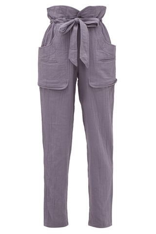 Bessie Paperbag-Waist Cheesecloth Trousers