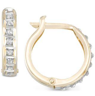 Diamond Accent 10k Gold Hoop Earrings