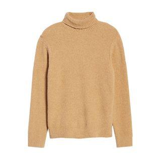 Bouclé Cotton Blend Turtleneck Sweater