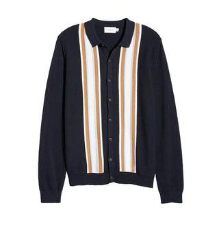 Stripe Button-Up Sweater
