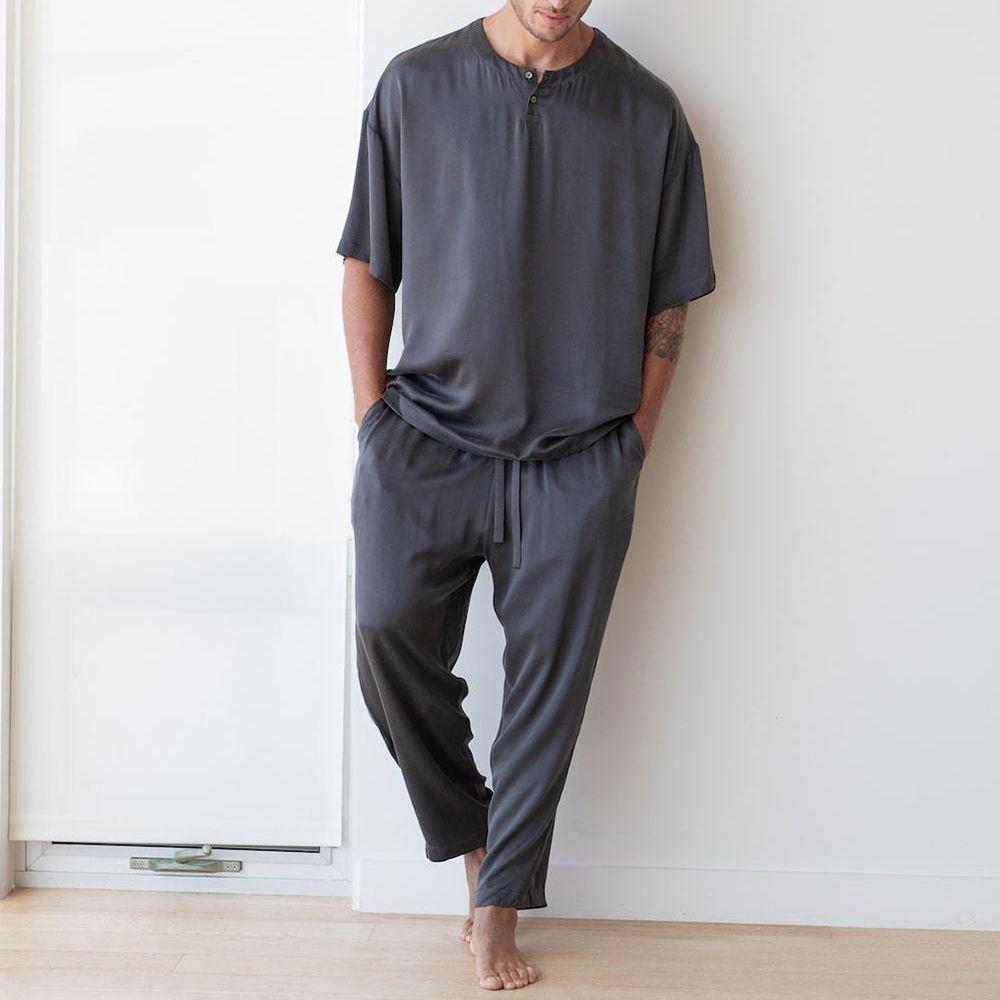 Mens Fleece Pyjamas Set Night Suit Long Sleeve Night Loungewear Check Pjs