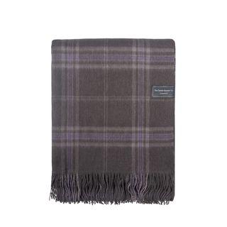 Lambswool Blanket In Persevere Flint Grey Tartan