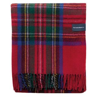 Recycled Wool Blanket In Stewart Royal Tartan