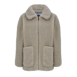Women's Fuzzy Jacket In Warm Sand