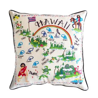 Hawaii Hand Embroidered Pillow