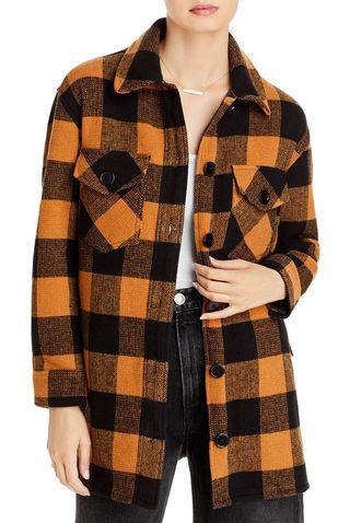 Woven Plaid Coat