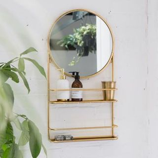 Gold Or Silver Circular Bathroom Mirror With Shelves