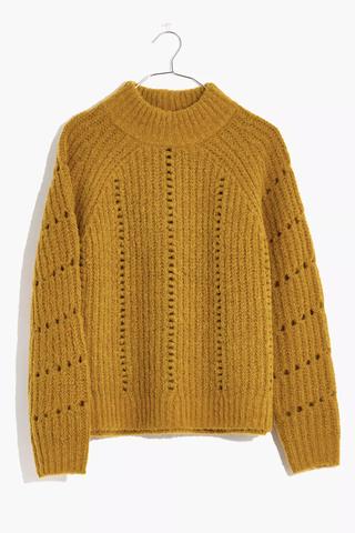 Pointelle Mockneck Pullover Sweater