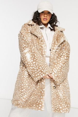 Double breasted coat in animal faux fur