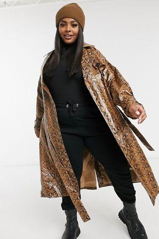 Maxi trench coat in snake vinyl