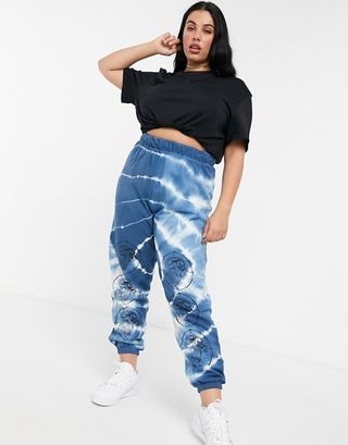 Relaxed joggers with dance print in tie dye co-ord