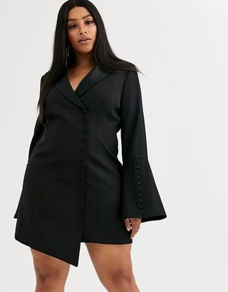 Button detail blazer mini dress in black
