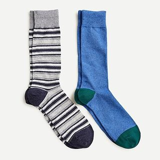 J. Crew Solid and Striped Socks Two-Pack