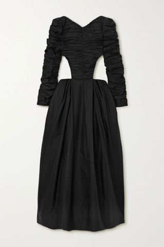 Rosaline cutout crystal-embellished ruched twill gown
