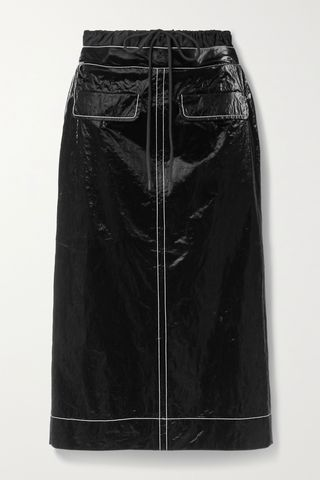 Taylor topstitched crinkled coated-shell midi skirt