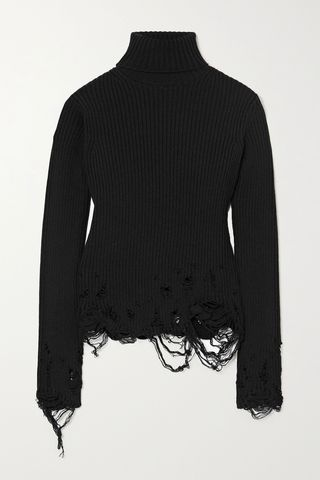 Distressed ribbed wool turtleneck sweater
