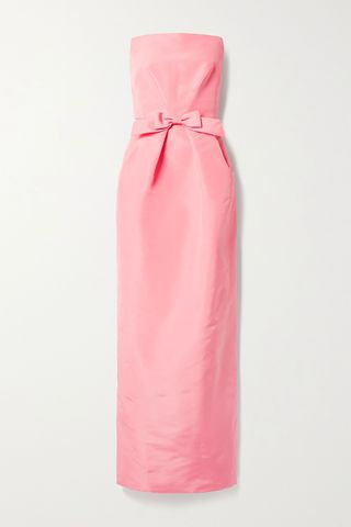Strapless bow-embellished silk-faille gown
