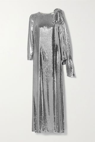 Richard draped sequined jersey gown