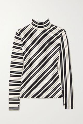 Striped cotton-blend jersey turtleneck top