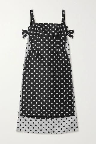 Norrie cape-effect polka-dot jacquard mini dress