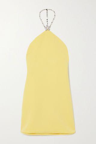 Embellished crepe halterneck mini dress