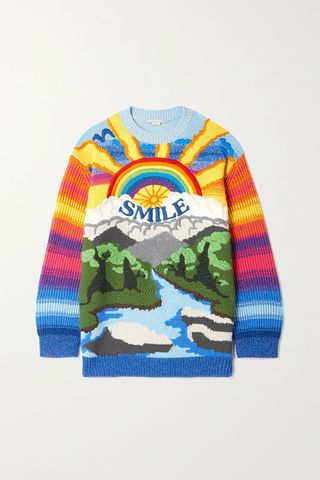 Kind intarsia wool and cotton-blend sweater