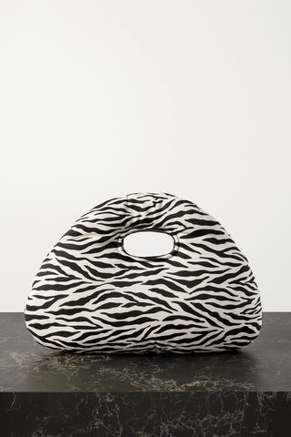 Lucy padded zebra-print cotton-twill tote