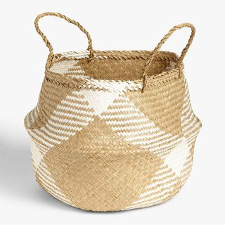 John Lewis & Partners White Pattern Seagrass Basket