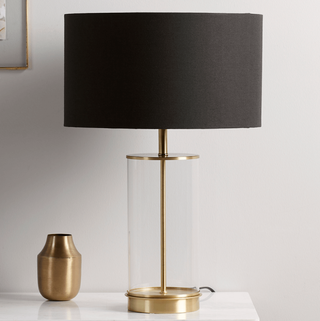 Brass & Black Glass Table Lamp