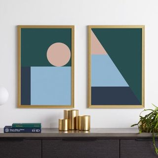 Sadie Geometric Set of 2 Framed Prints, 40 x 60cm
