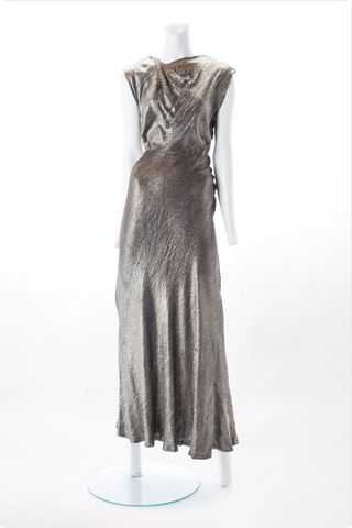 1930s Silver Lame Bias Gown