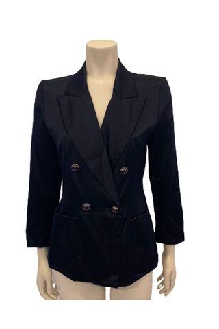 1990s Rive Gauche Navy Silk Blazer w/ Polka Dot Buttons