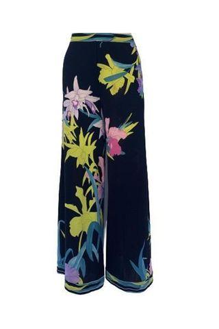 1970s High Waist Silk Jersey Wide Leg Floral Pant