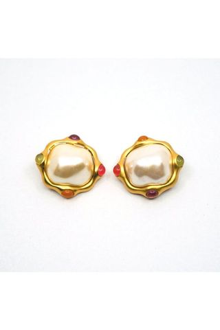 Oversize Glass and Metal Cabochon Clip Earrings
