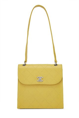 Yellow Quilted Caviar Shoulder Bag