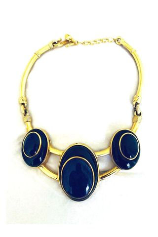 Signed Enamel Goldplated Chunky Collar Necklace