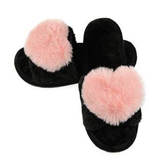Fuzzy Heart Slippers