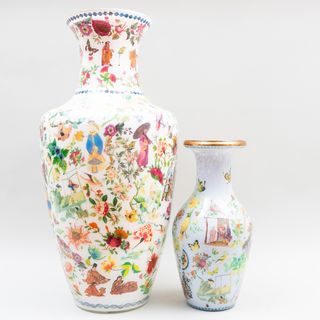 Large & Small Chinoiserie Decalcomania Vases