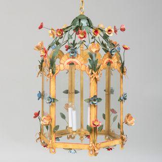 Floral Tôle Peinte Four-Light Hexagonal-Shaped Lantern